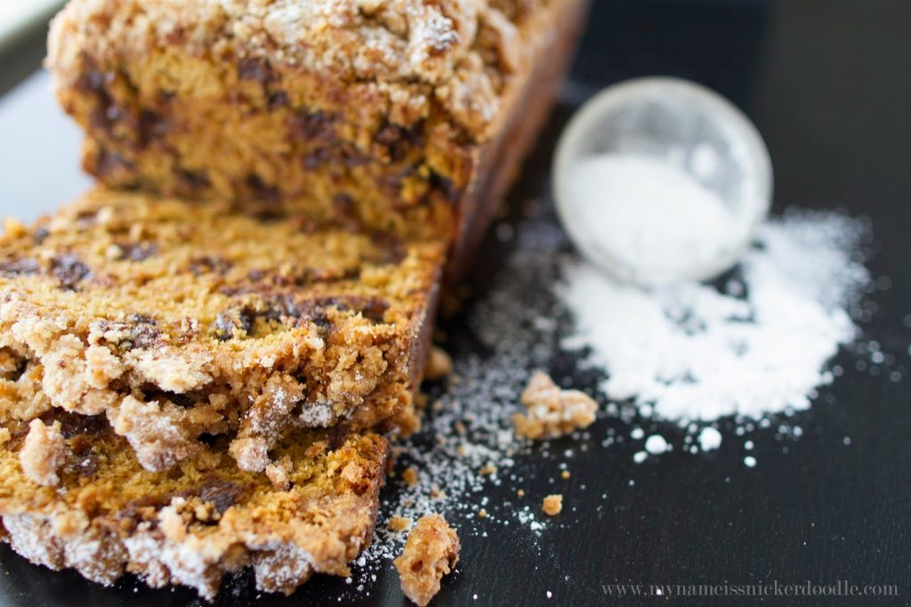 Pumpkin Chocolate Chip Bread Sprinkled with Powdered Sugar