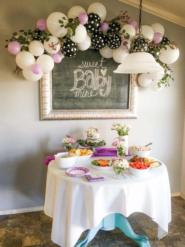 Black White Purple Baby Shower Decorations My Name Is Snickerdoodle 2