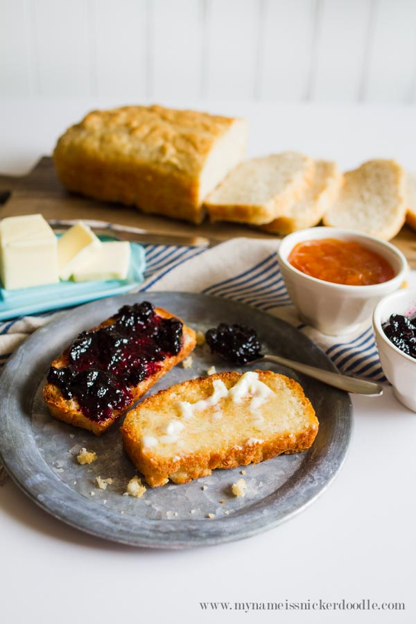 A perfect recipe for no knead bread! This English Muffin bread makes perfect weekday toast for breakfast.