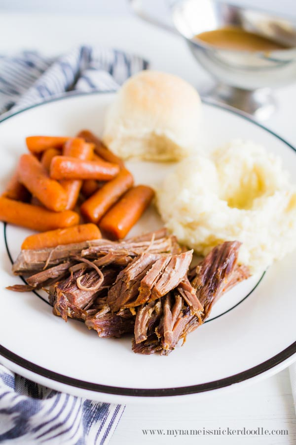 Easy Slow Cooker Pot Roast With Mashed Potatoes