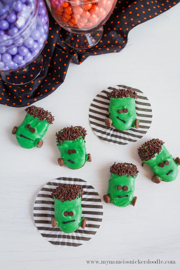 Frankenstein Cookies made with Milano Cookies, Melted Chocolate and Sprinkles