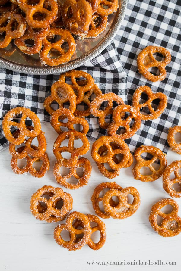Pumpkin Spiced Pretzels on a table