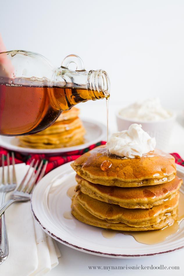 Gingerbread Pancakes With Whipped Cream And Syrup