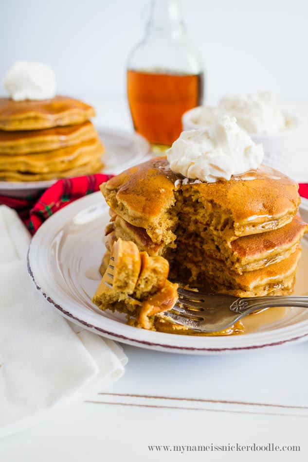 Gingerbread Pancakes Recipe With Whipped Cream And Syrup