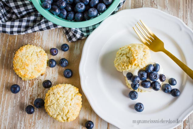 White plate with a biscuit, whipped cream and blueberries on top. The perfect Blueberry Shortcakes!