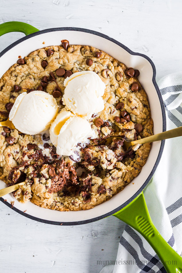 Chocolate Chip Cookie Skillet Recipe | Ice Cream | Dessert | Crowd Pleaser | Best | Easy | From Scratch | mynameissnickerdoodle.com