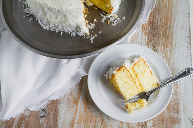 slice of Coconut Cake with coconut filling