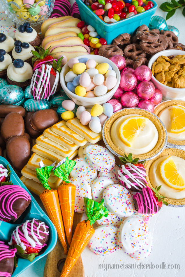 Easter Candy Snack Board a perfect dessert buffet for the holiday!