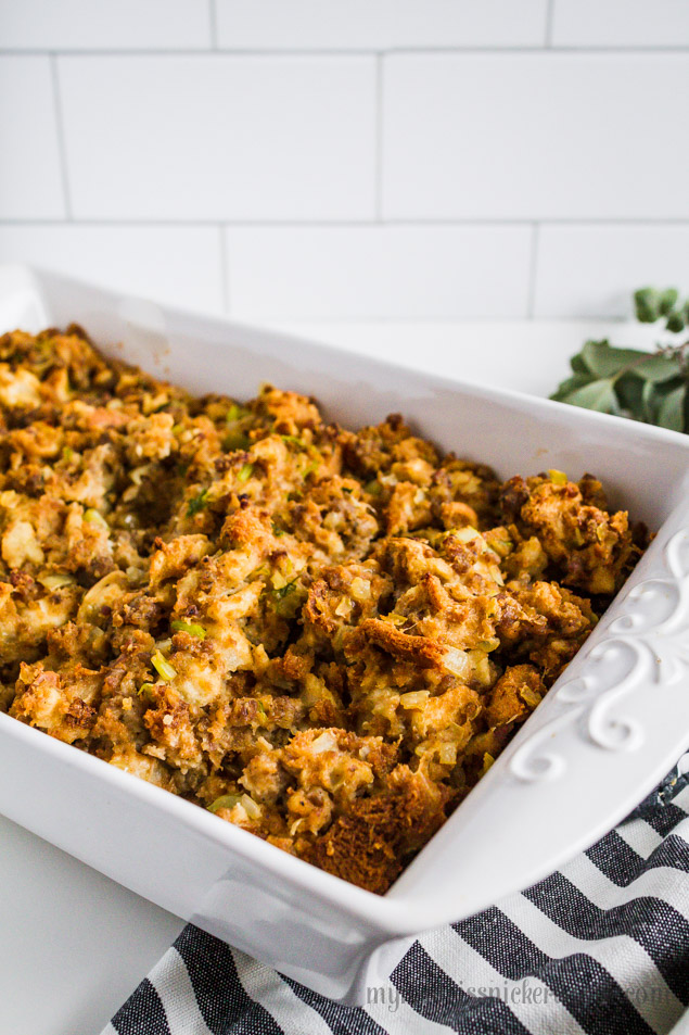 Sausage Stuffing Recipe with herbs, celery and onions. Perfect for the holidays!