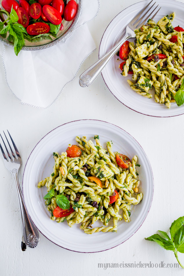 Tomato Mozzarella Pasta Salad Recipe, Pesto, Basil, Italian, Cheese, Olive Oil, Caprese