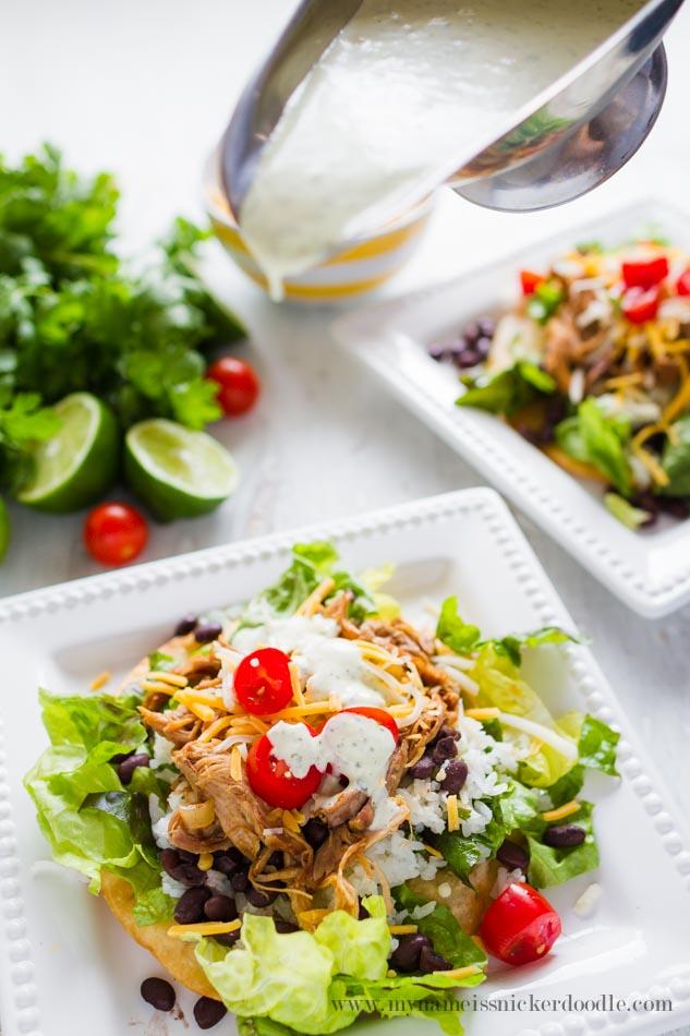 Cilantro Lime Pork Tostadas  |  Recipe  |  Easy  |  Slow Cooker  |  Crock Pot  |  With Dressing  |  Cinco de Mayo