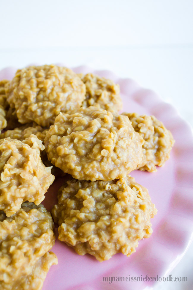 No Bake Peanut Butter Cookies recipe on ruffle pink cake plate