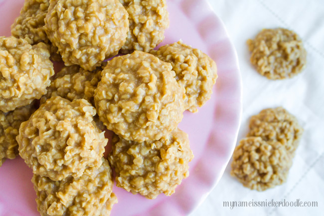 No Bake Peanut Butter Cookies recipe on cake plate