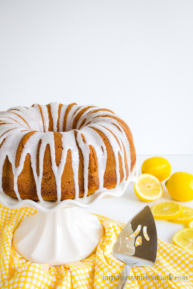 Lemon Cake on a white cake plate