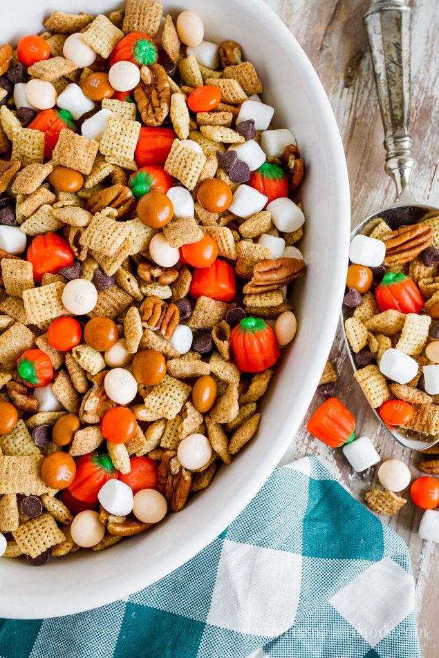 Pumpkin Pie Party Chex Mix recipe. Perfect fall snack treat.