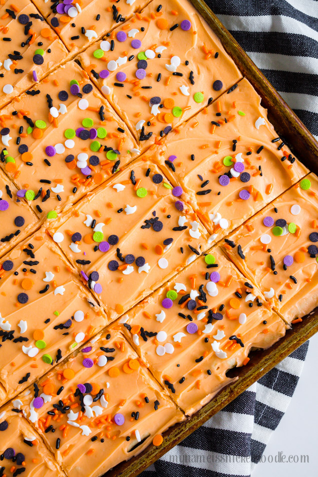 Halloween Sugar Cookie Bars In A Baking Sheet