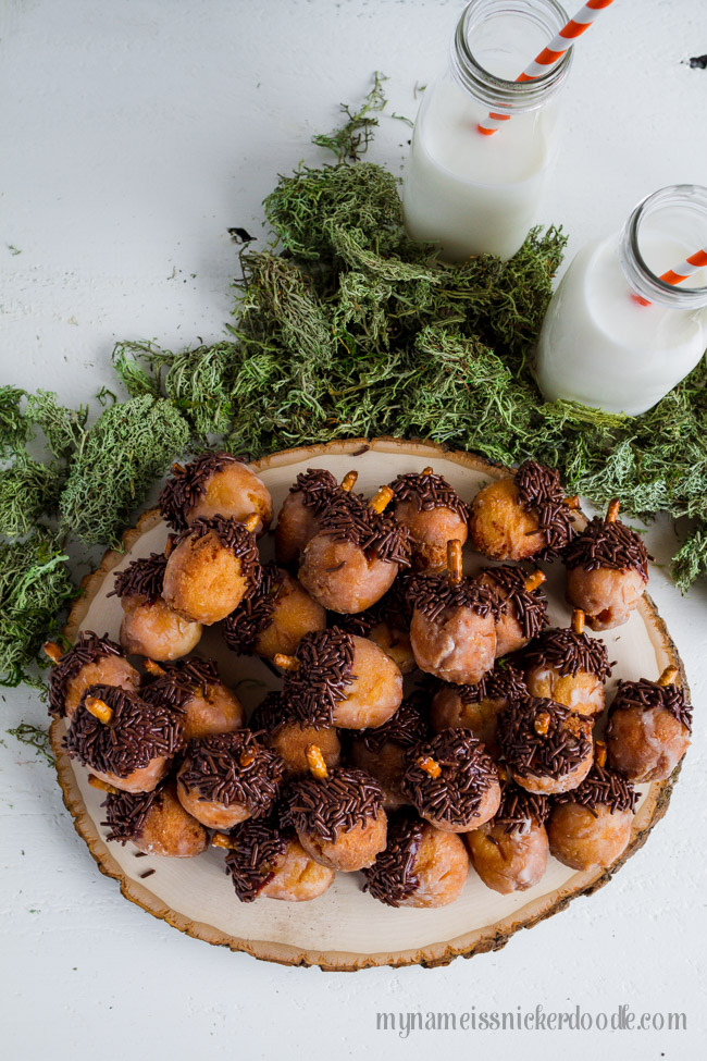 Acorn Donut Holes with milk perfect for a fall treat