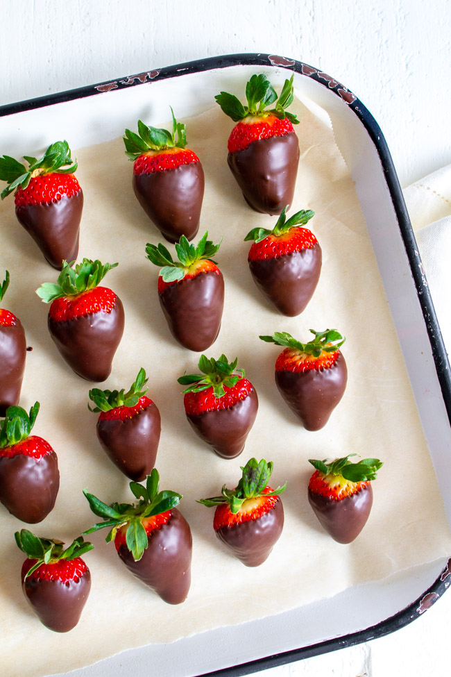 Chocolate Covered Strawberries on a large tray