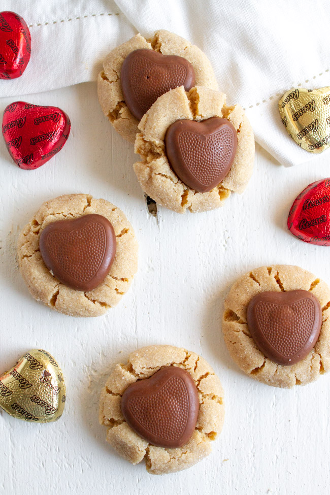 Peanut Butter Blossoms with  chocolate hearts