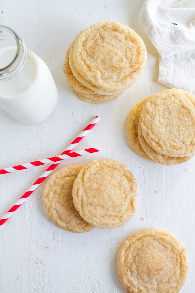 Snickerdoodles on a white table with red and white straws.