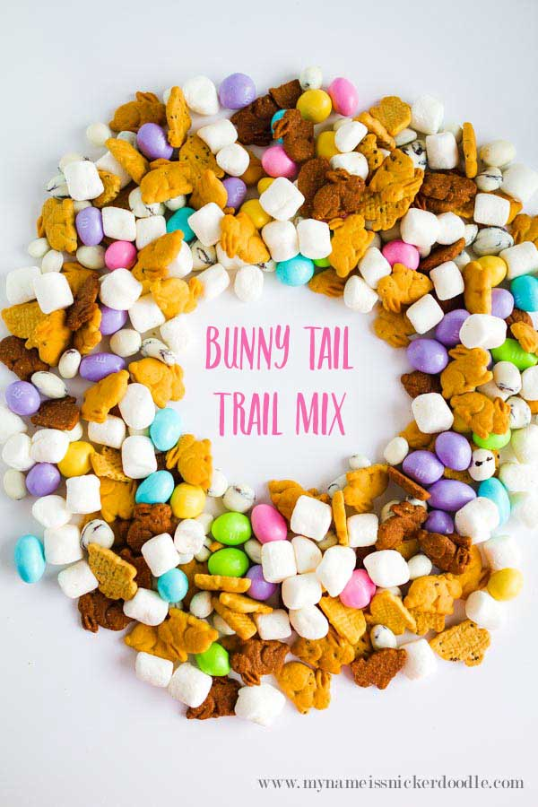 Easter trail mix in a circle in a white table