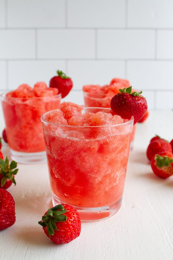 Strawberry Lemonade Slushie with fresh strawberries