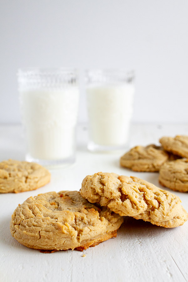 Big Peanut Butter Cookies with Milk