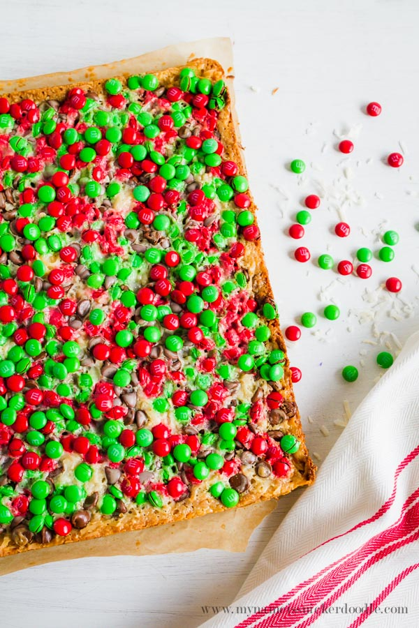 Christmas Magic Cookie Bars full of graham cracker crumbs, coconut, chocolate chips and sweetened condensed milk.