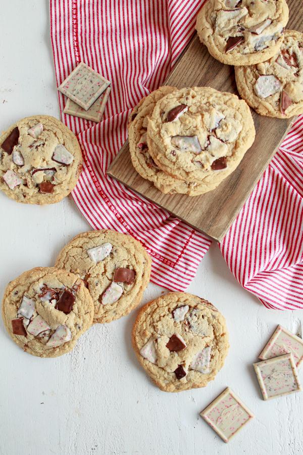 Chocolate Peppermint Bark Christmas Cookies