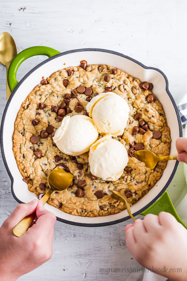Chocolate Chip Skillet Cookie a super easy recipe the perfect friend and family dessert!!