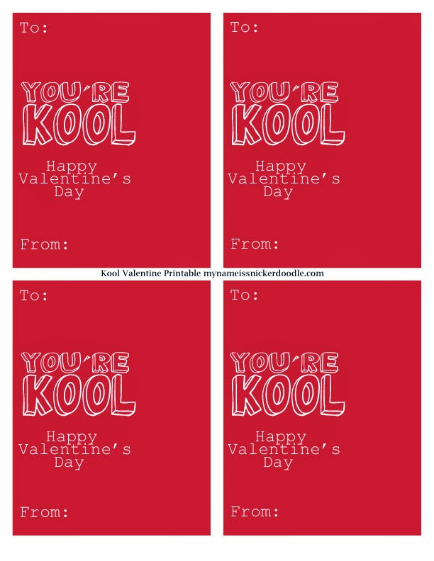 A free printable paired perfectly with an individual Kool-aid packet.  Great for a kids Valentine's Day school class party