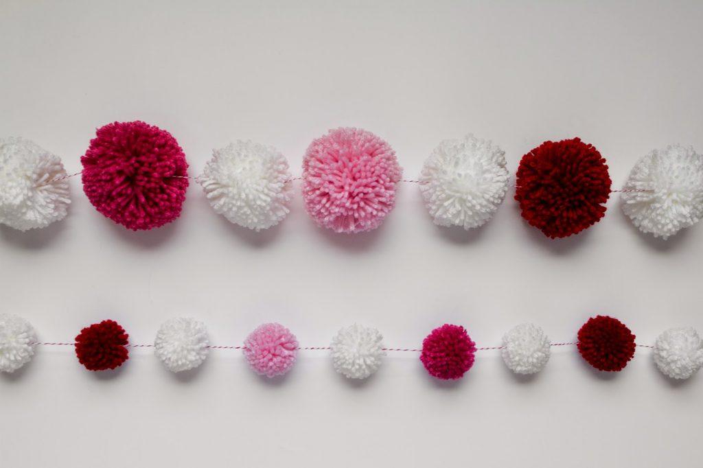 Valentine Yarn Pom Pom Garland in two different sizes!