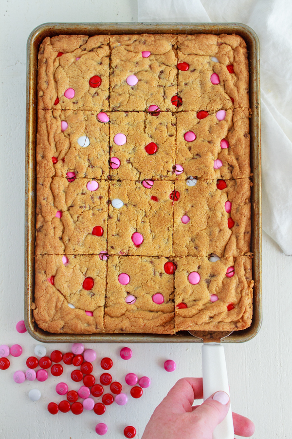 Chocolate Chip Cookie Bars with Valentine's M&Ms.