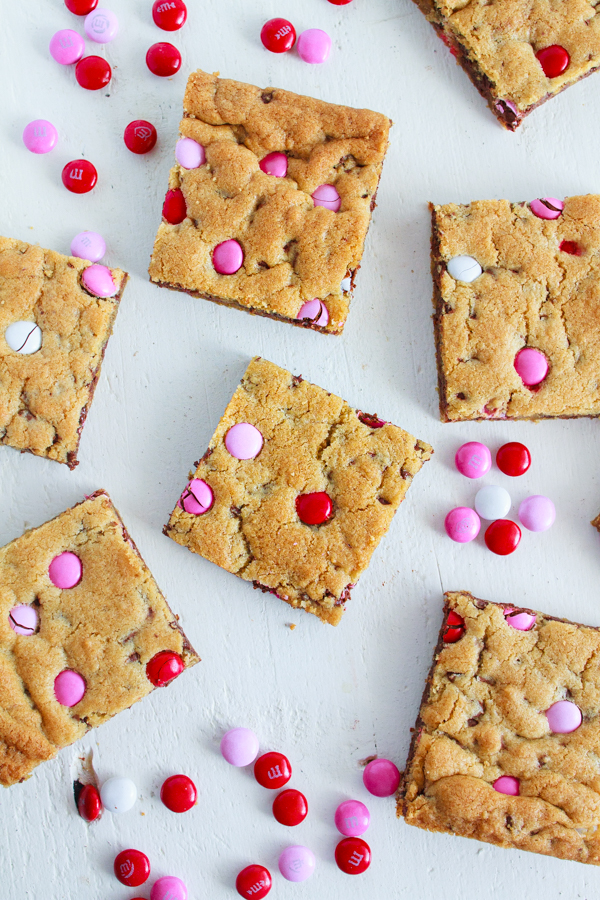 Chocolate Chip Cookie Bars with Valentine's M&Ms. An easy recipe for the holiday.