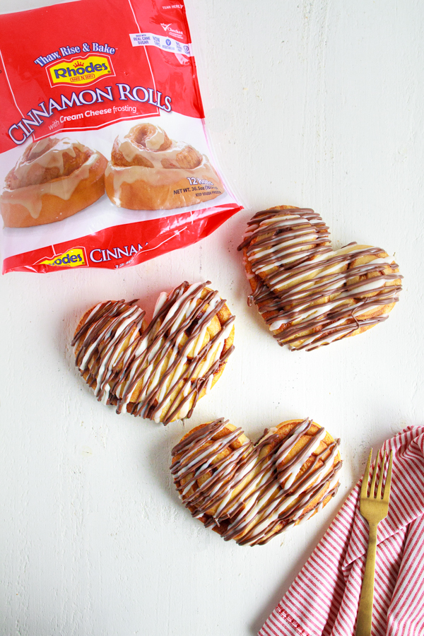 Simple Rhodes Cinnamon Rolls can be transformed into heart shaped for Valentine's Day