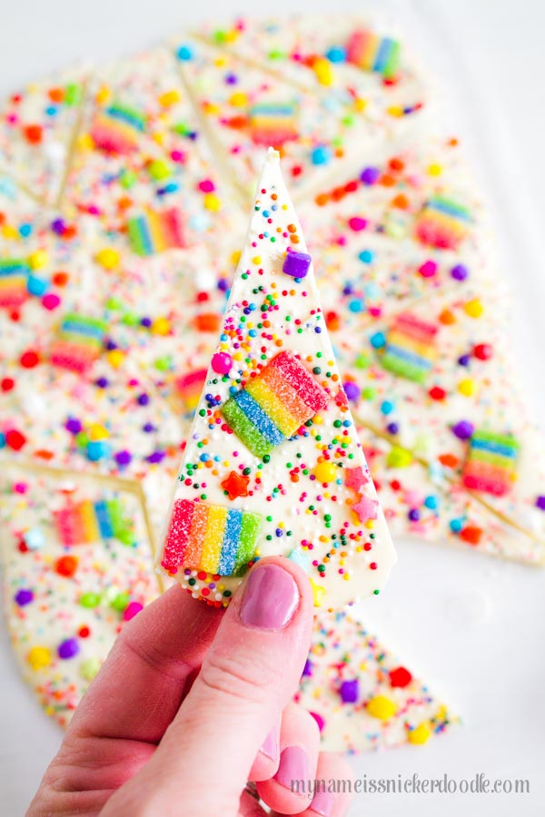 Candy Rainbow Bark recipe and how to.