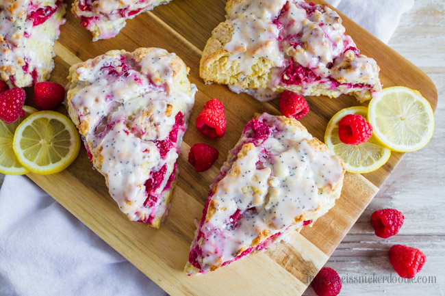 A perfect scone recipe with lemons and raspberries.