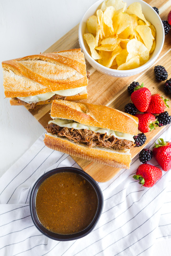 Easy French Dip Sandwiches made in the crock pot.