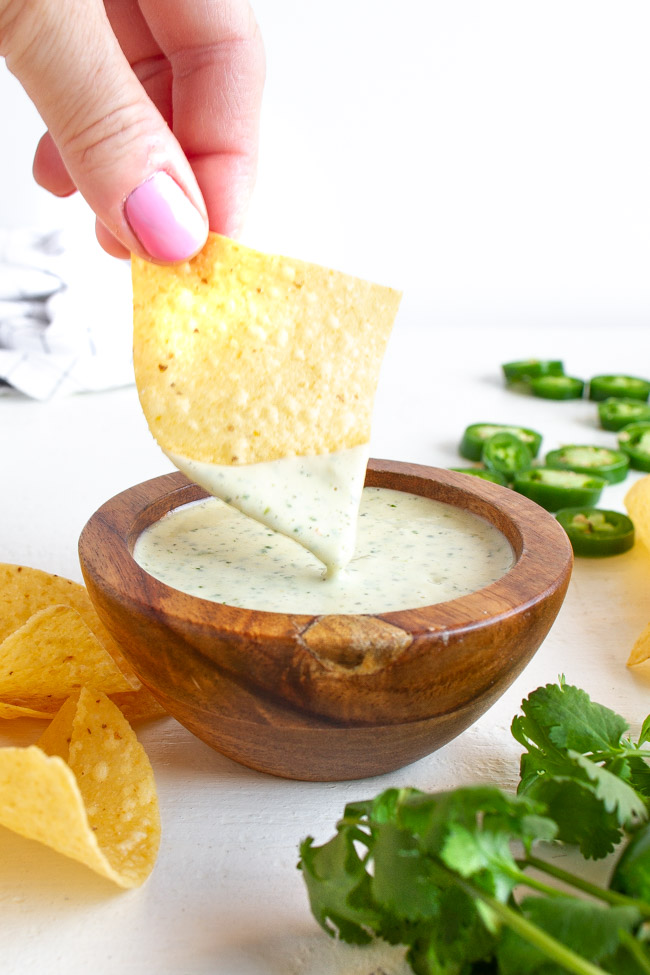 Jalapeno Ranch Dip Recipe in a wooden bowl.
