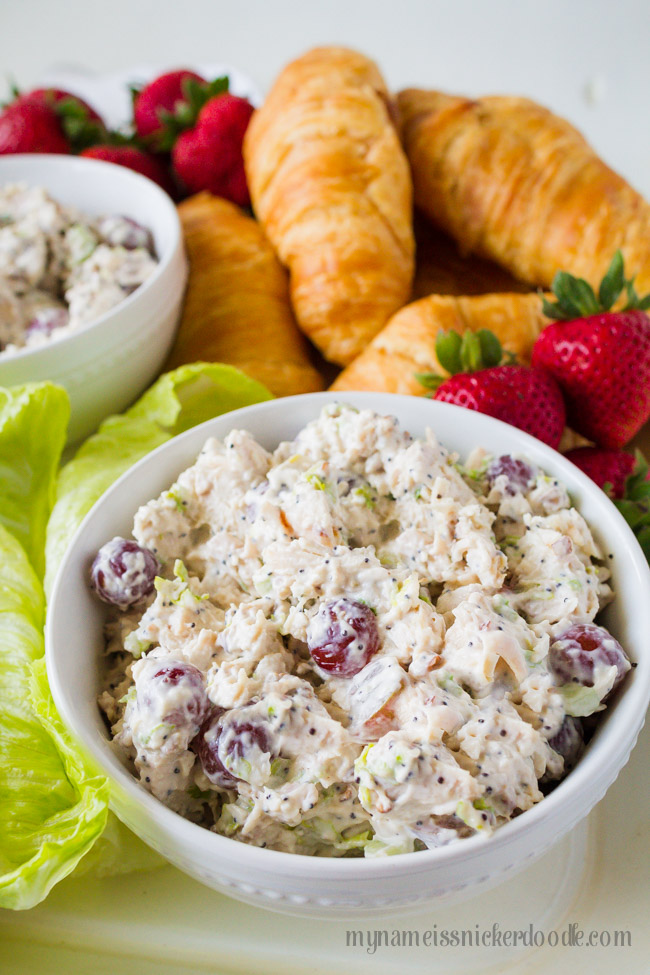 A white bowl filled with A Chicken Salad Recipe.