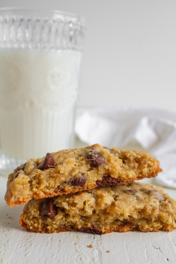 Chocolate Oatmeal Cookies with a glass of milk.