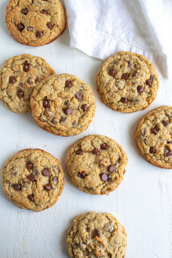 Oatmeal Chocolate Chip Cookies on a white table.