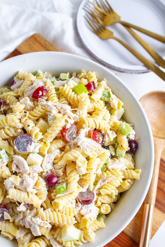 Chicken Apple Pasta Salad in a white bowl.
