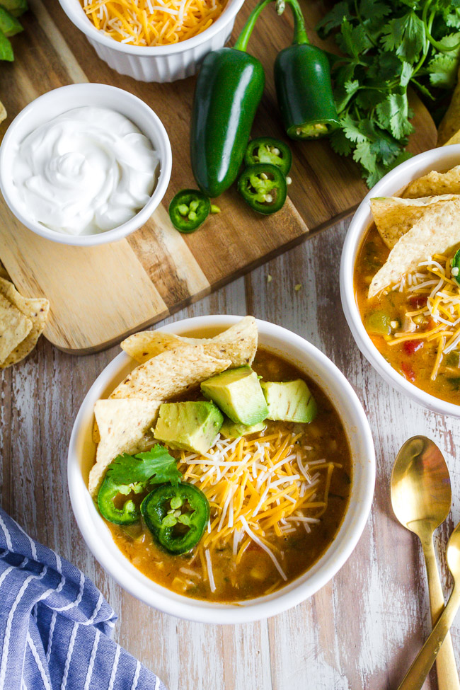 Chicken Tortilla Soup garnished with jalapenos