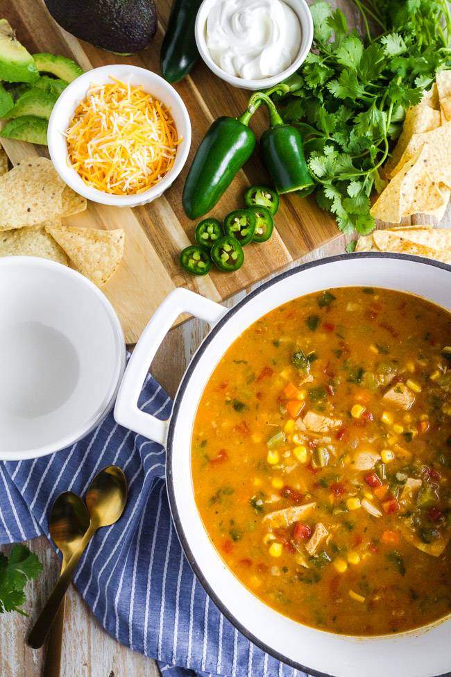 Chicken Tortilla Soup garnished with cilantro and tortilla chips