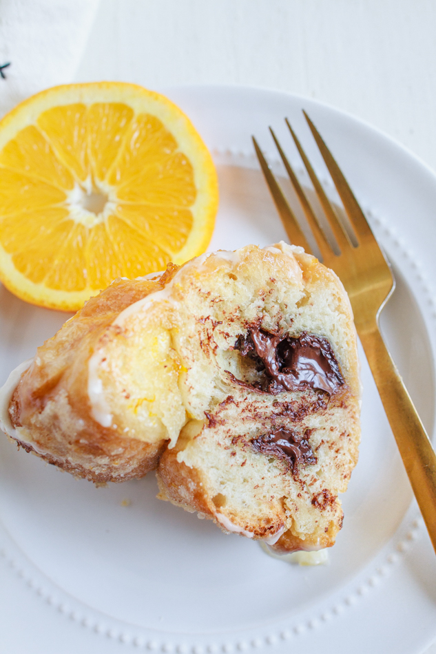 A slice of Orange Pull-Aparts filled with dark chocolate.