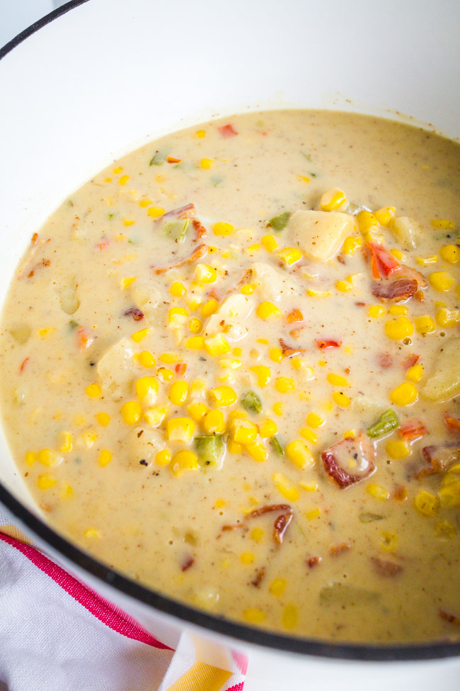 Corn and potato soup with bacon, onions and cheese.