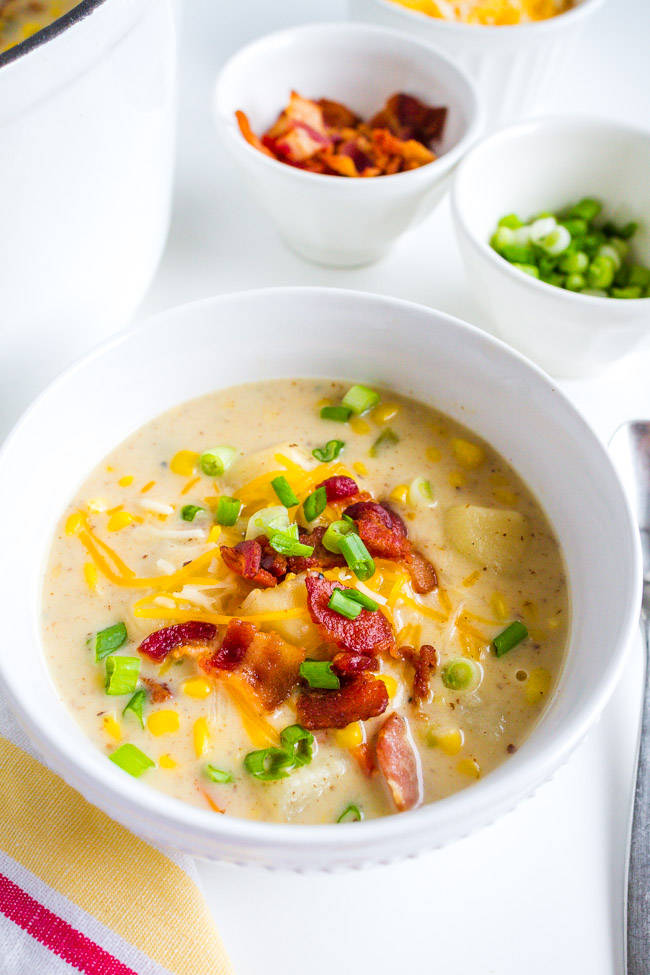 Corn chowder with bacon and cheese