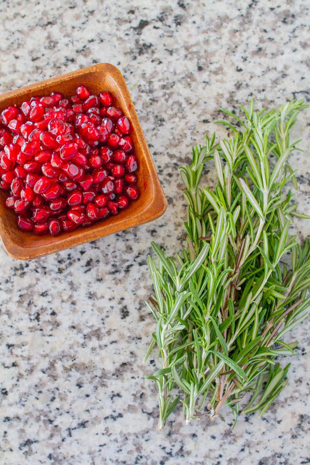 Rosemary and pomegranate arils.