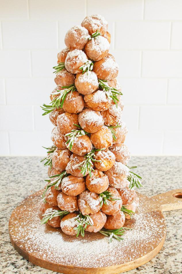 Christmas Donut Tree with rosemary and pomegranate.